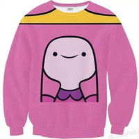 Alisister 2015 sexy adventure time princess bubblegum hoodies sweatshirt pullovers for women 3d print harajuku cartoon crewneck