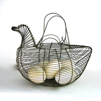 wire egg basket by anythinggoeshere on Etsy