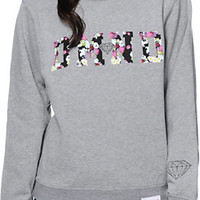 Diamond Supply Co. DMND Floral Fill Grey Crew Neck Sweatshirt