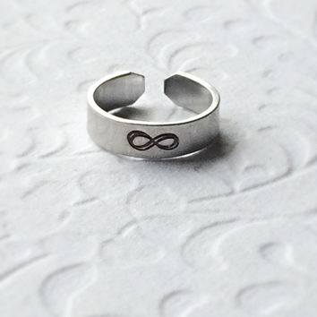 Infinity Above the Knuckle or Pinkie Ring / Stackable Ring / Adjustable Ring /  Name Ring / Word Ring