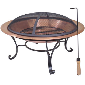 Large 29 Inch Outdoor Fire Pit In 100% Solid Copper With Screen Cover