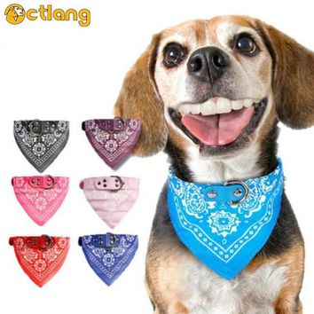 Dog Bandana Collar Cat Scarf Tie Leather Adjustable Neckerchief Small Large Dog Collar Custom Necklace Pet Accessories(7 Color)