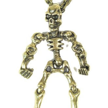 Articulated Skeleton Necklace Skull Gold Bones NI24 Monster Goth Vintage Punk Pendant Fashion Jewelry