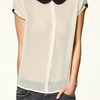 White Patchwork Back Buttons Lapel Chiffon Blouse
