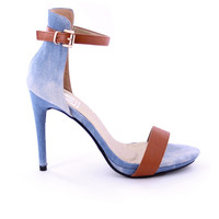 Megan Denim and Tan Open Toe Heel