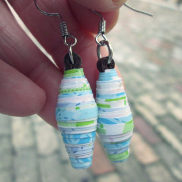 ON SALE - Upcycled, recycled, repurposed Paper bead earrings - Paper jewelry - Minimalist earrings - Ecofriendly earrings - Eco jewelry