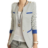 Long Sleeve Striped Blazer Suit