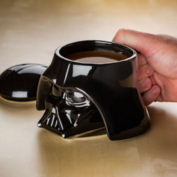 Classic Star Wars 3D Mug Stormtrooper Darth Vader Helmet Mug Black White Ceramic Coffee Drinks Cup With Lid Handgrip Drinkware