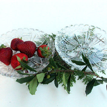 Vintage EAPG Imperial Crystal Dishes, Nut/Candy /trinket., Hobstar and Ray pattern Cr 1918, set of two I Take CREDIT CARDS