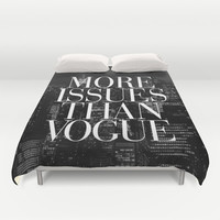 More Issues Than Vogue Black and White NYC Manhattan Skyline Duvet Cover by RexLambo