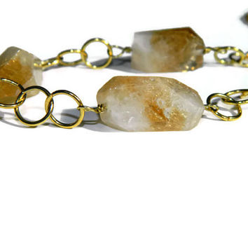 Citrine quartz crystal necklace / Polished natural raw crystal stone on gold tone chain / Chunky stone necklace
