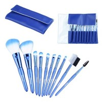 10 Pcs Makeup Brush Set Korean Synthetic Hair and Pearl Blue Leather Bag Case, Including Powder Trimming Brush, Angled Eyeshadow Brush, Nose Eyeshadow Eyebrow Eyelash Brush, Lip Brush and Comb Brush