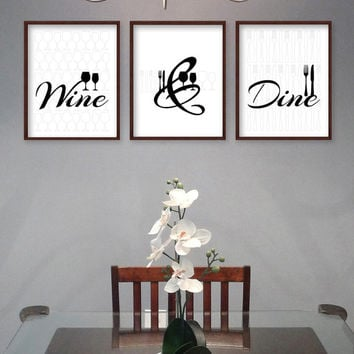Dining Room Wall Art - Dining Room Art - Kitchen Prints - Kitchen Signs - Dining Room Prints - Wine & Dine - Modern Black and White Dining