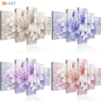 Blush Pink Purple Blue Brown Lilies Flowers Pritns Canvas Painting 5 Panel Pastel Floral Wall Art for Girls Room Home Decor