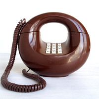 "Sculptura ""doughnut"" phone, vintage 1970s chocolate brown touch tone Western Electric telephone, push button, space age modern art design,"