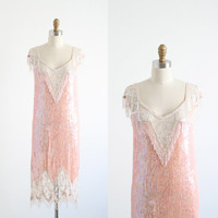 Gatsby Dress Flapper 1920s Art Deco Pink Sequined Beaded