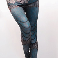 Armour Leggings - Size L Teal - Printed Chainmail and Metal Tights