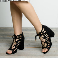 Cutout Lace-Up Sandal