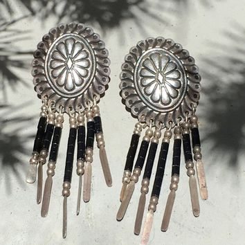 Southwestern Sterling Silver Concho Earrings with Black Jet Dangles