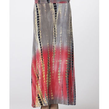 In Style Long TieDye Red/Orange Maxi Skirt