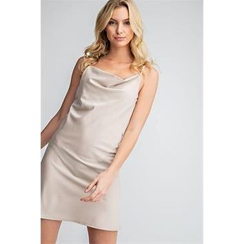 Cowl Neck Mini Dress - Taupe