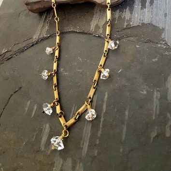Raw Crystal Stone HERKIMER DIAMOND Necklace, Edgy Rock Chic Jewelry