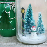 Mason Jar Winter Scene Diorama - Waterless Snow Globe - Snowman - Winter Wonderland