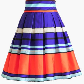 Multi Color Striped High-Waisted Pleated Skater Skirt