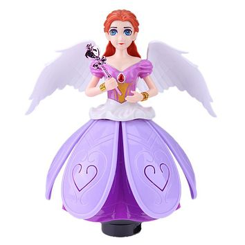 Electric Rotating Princess Dancing Light Music Doll Toy Simulation Baby Doll Beautiful Revolving Angels Kids Birthday Gift