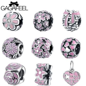 GAGAFEEL 925 Sterling Silver Beads Pink Color Bead Fit Pandora Charm Bracelet Necklaces Chain For DIY Jewelry Making For Women