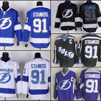 Cheap Tampa Bay Lightning Hockey Jerseys #91 Steven Stamkos Jersey Home Blue Road White Alternate Third Black Stitched Jerseys