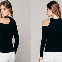 Black Cold Shoulder Long Sleeve Stretch Womens Sexy Cut Out Fashion Top