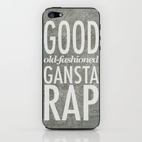 good old-fashioned gangsta rap (white metal on stone) iPhone & iPod Skin by Miranda J. Friedman | Society6