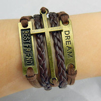 Antique Bronze Love Bracelet,cross bracelet ,Dream Bracelet,bestfriend bracelet Made By Brown Wax Cord,brown Braid Leather Bracelet