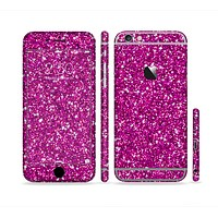 The Bright Pink Glitter Sectioned Skin Series for the Apple iPhone 6 Plus