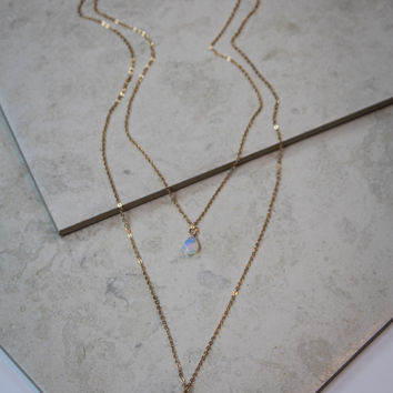 Layered Black Tier Drop Necklace in Gold
