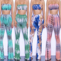 Summer Autumn Women Print Two Piece Gradient Flare Pants Off Shoulder Casual Jumpsuit Knitted Sexy Elegant Rompers