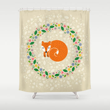 Spring Fox Shower Curtain by swissette