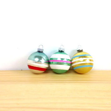 Vintage Shiny Brite / Ball Ornament / Blue Green Gold / Christmas Ornaments / Striped Ornaments / Mercury Glass / 50s Ornaments