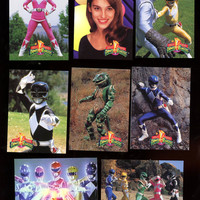 Power Rangers 1994 Saban series 2 card lot of 8 cards vintage ,Pink Ranger card featured,  free shipping