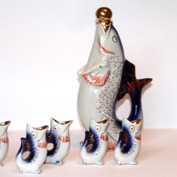 Soviet Vintage porcelain fish set (shot glasses and decanter with lid)