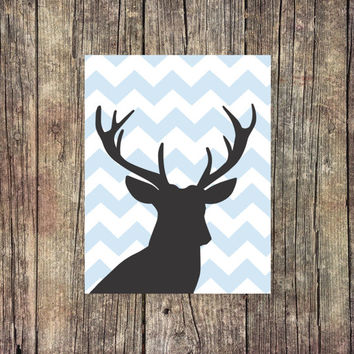 Deer Nursery Print  - Deer Digital Print - Instant Download - Digital Art - Digital Printable - Chevron Print - Desk Art - Nursery Decor