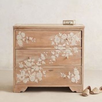 Pearl Inlay Three-Drawer Dresser by Anthropologie in Neutral Size: One Size Furniture