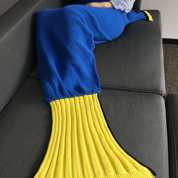 Comfortable Crocheted Knitted Fish Tail Shape Blanket