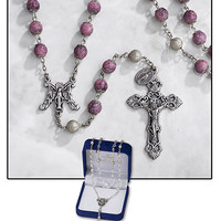 8MM Pink Marble Rosary (Free Shipping)