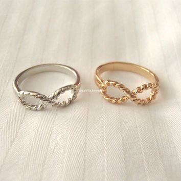 Twisted Infinity rings - Gold and Silver, knuckle rings, midi rings, mini rings, silver ring, gold ring, infinite love, minimalist ring