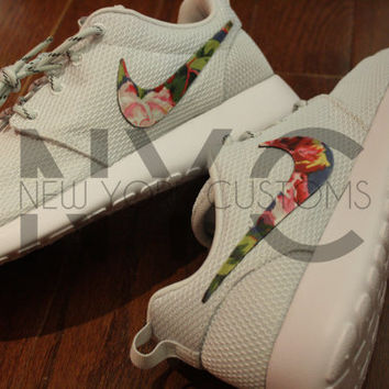 Nike Roshe Run Grey - Blue Rose Symphony Floral Print V3 Edition Custom Men & Womens