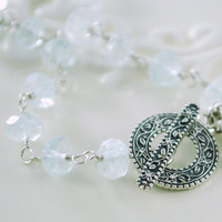Aquamarine Bracelet with Rose Charm Sterling by livjewellery