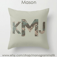 "Monogram Personalized Custom Pillow Cover ""Mason"" 16"" x 16"" Couch Art Bedroom Room Decor Initials Name Letters Digital Camo Green Olive Drab"