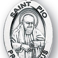 Saint Padre Pio Oval Sterling Silver Medal Necklace.